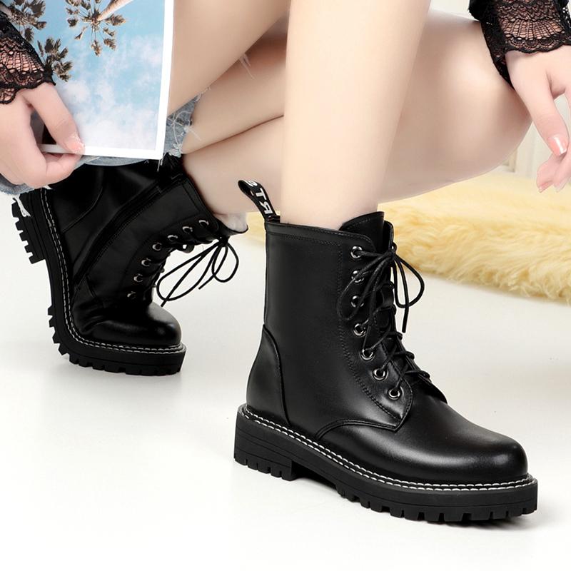 冬季真皮羊毛女靴妈妈棉靴防水台中筒靴保暖女棉鞋大码雪地户外靴