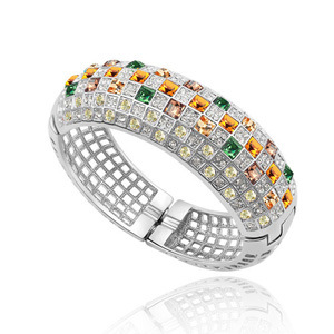 European and American fashion queen bracelet with exaggerated personality, widened and thickened sweet girls multi-layer inlaid crystal Zircon Bracelet