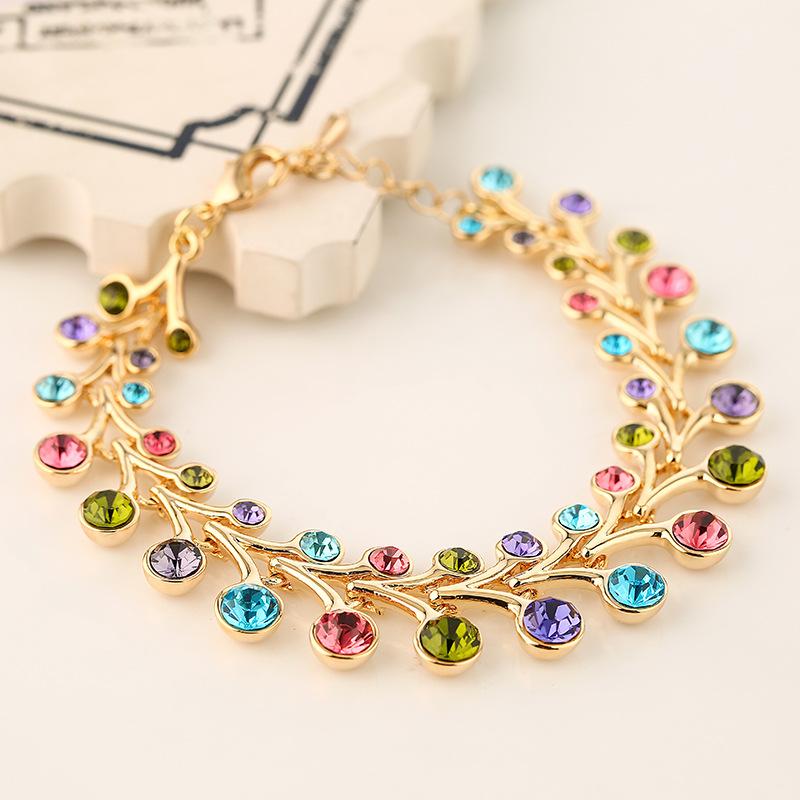 New national style flower bud multi-layer bracelet fashion personality exaggeration sweet girl Diamond Crystal Bracelet