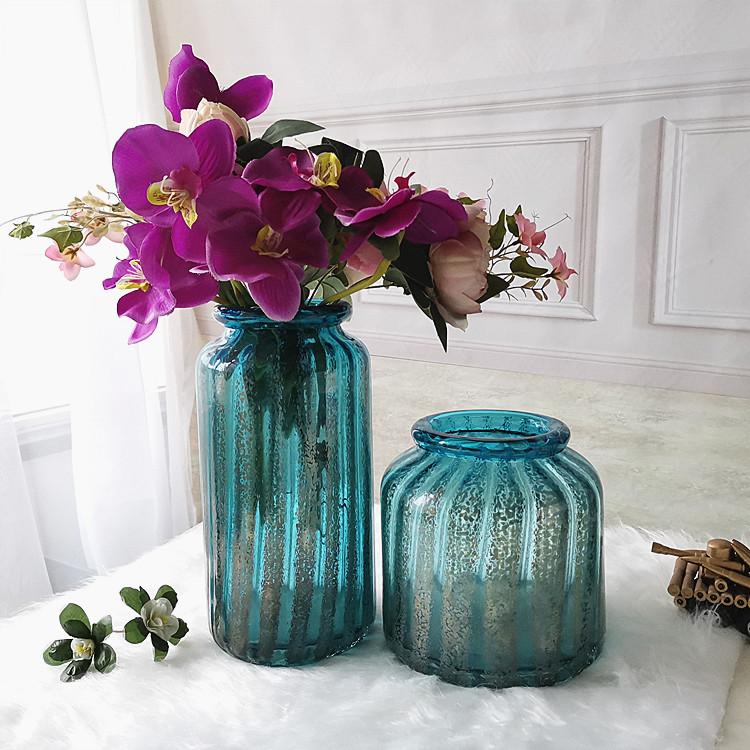 样板间陈设摆件工厂直营吹制大号美式玻璃花瓶公司书房台面插花器