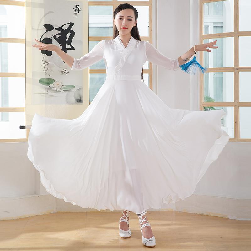 禅舞服装女套装仙女飘逸茶服禅修服禅意复古文艺雪纺套装连衣裙