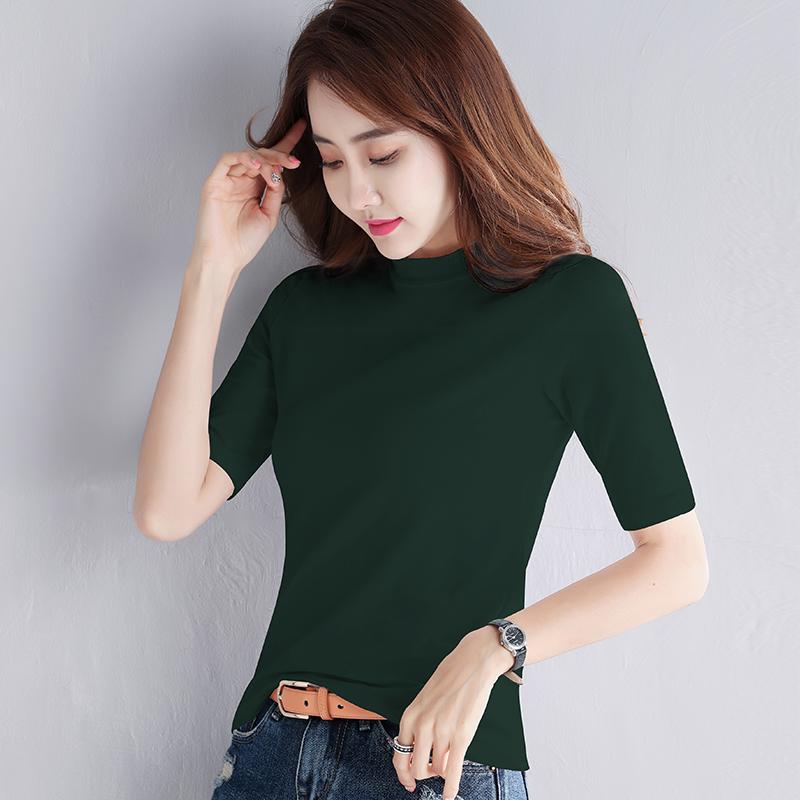 满29.00元可用1元优惠券夏季墨绿色短袖2019新款女装白t恤