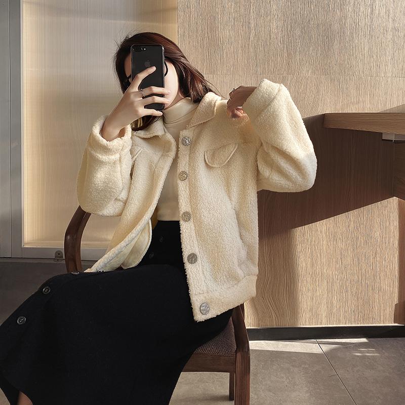 羊羔毛外套女短款2019秋冬新款百搭翻领加厚毛绒皮毛一体夹克上衣