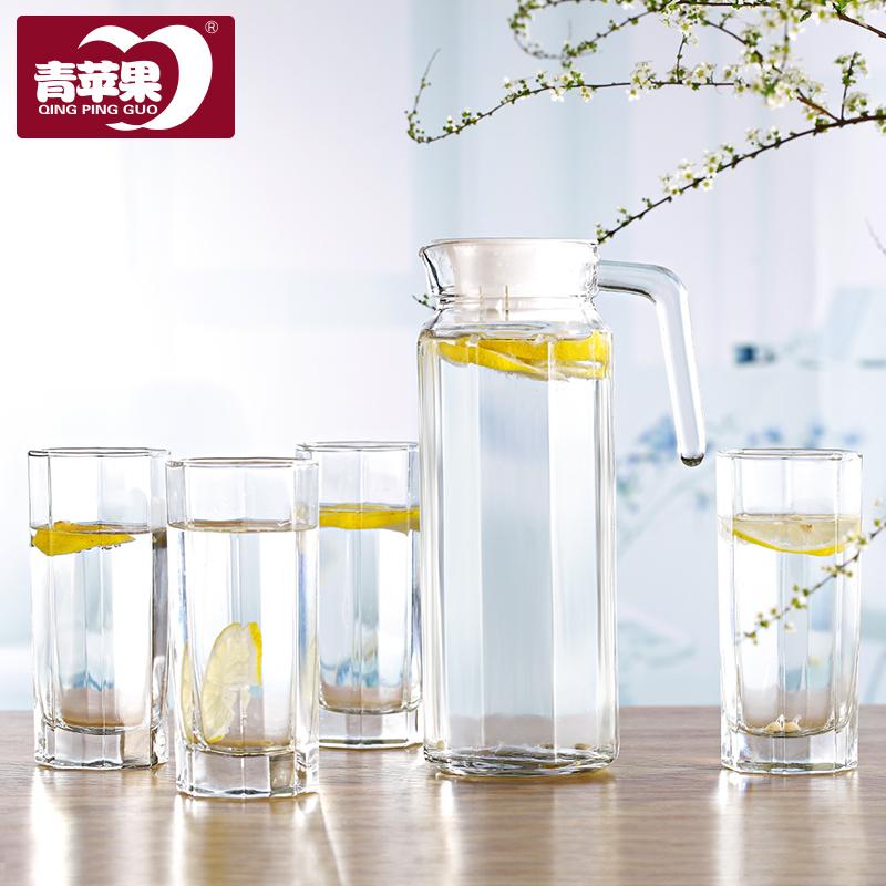 青蘋果玻璃冷水壺涼水壺紮壺五件套裝家用水杯水具玻璃杯大容量