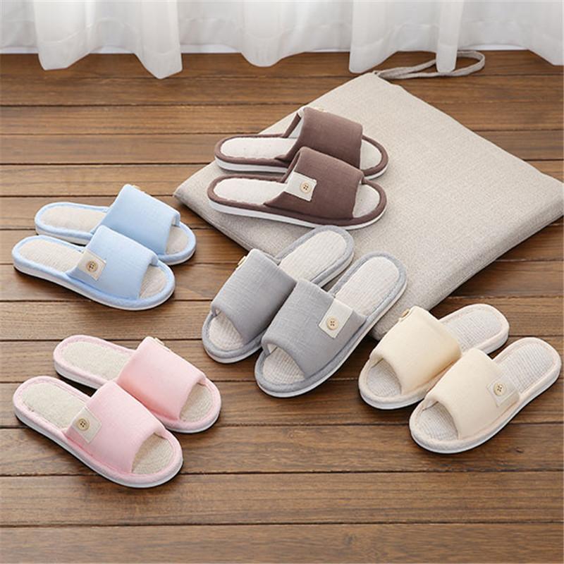 亚麻拖鞋纽扣夏季居家居室内棉拖鞋(非品牌)