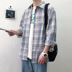 春秋新款格子长袖衬衫男宽松ins潮流韩版衬衣男士港风情侣外套