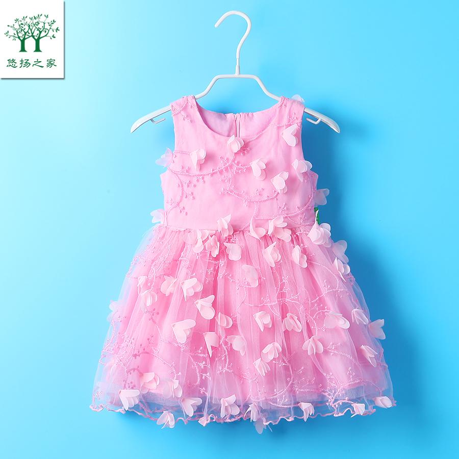 2017 новый ребенок платье один 3 два 4 три 5 четыре пять лет девочки юбка ребенок платье принцессы ребенок летний костюм