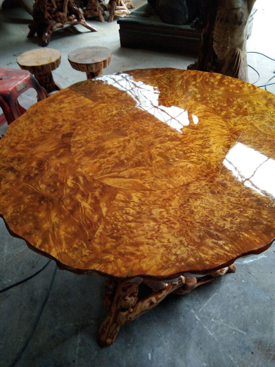 杜鹃根餐桌圆桌休闲茶桌黄金樟桌面天然实木根雕