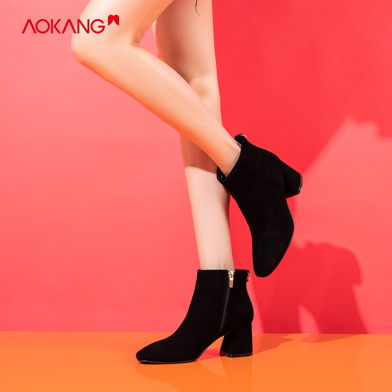 Aokang womens shoes 2020 winter new high heeled womens short boots solid suede retro letter with decorative fashion Ankle Boots