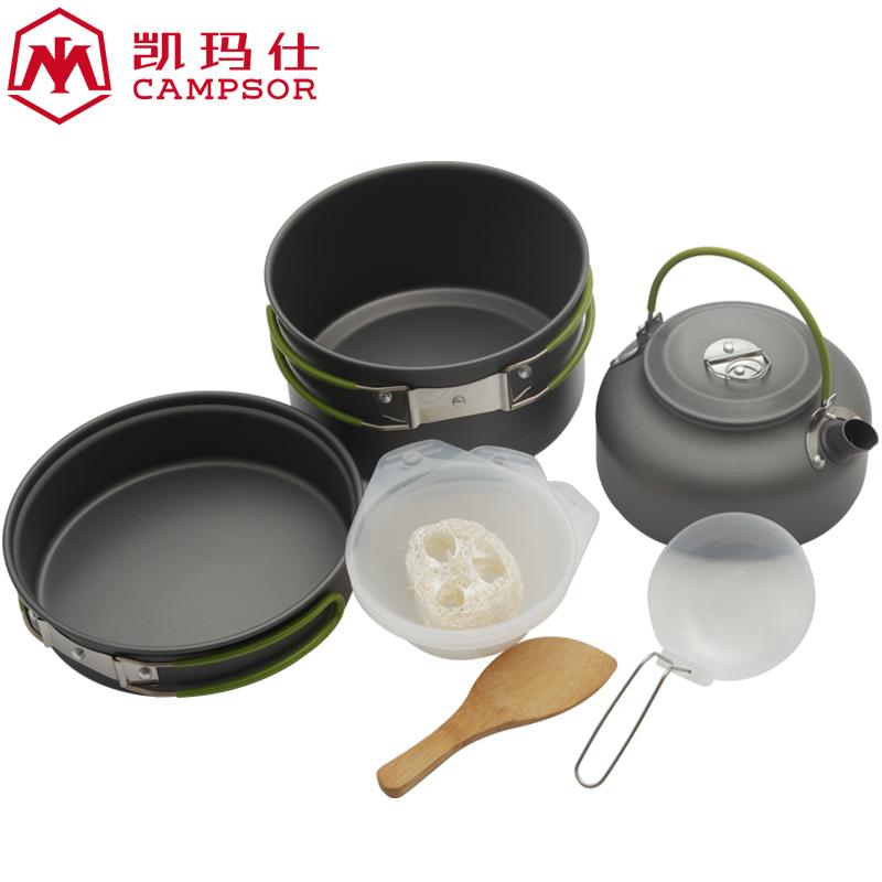 野營套鍋戶外野炊鍋具餐具套鍋 4~5人套鍋戶外裝備 便攜式不粘鍋