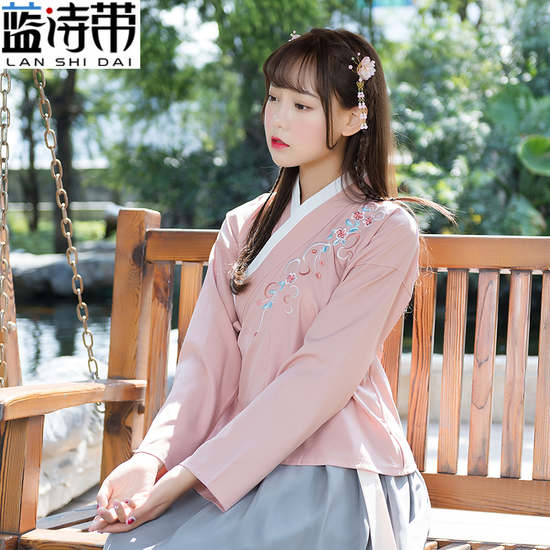 Spring and autumn improved Hanfu women's collar collar skirt waist waist section daily traditional costume suit Clothes