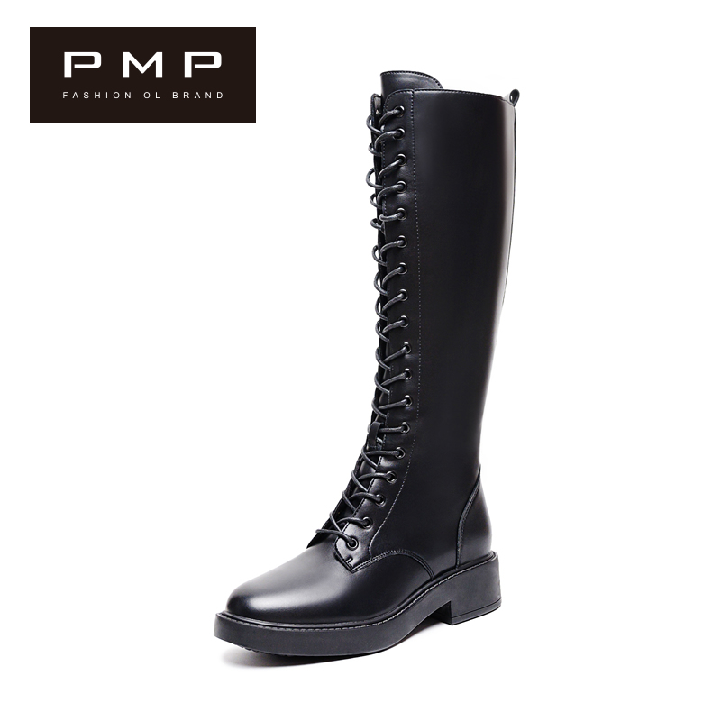 Women's boots 2020 new fall style lace up high tube Martin women's boots no more than knee boots small Knight boots