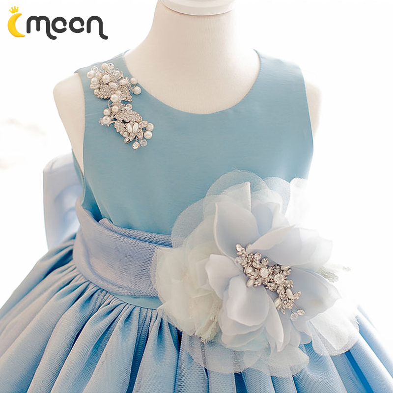 兒童節 演出服白雪公主裙蓬蓬裙女花童婚紗夏寶寶周歲藍色連衣裙