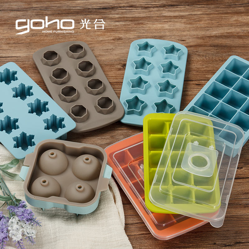 Photosynthetic life silica gel ice lattice creative ice making mold spherical ice with cover star snowflake diamond complementary food