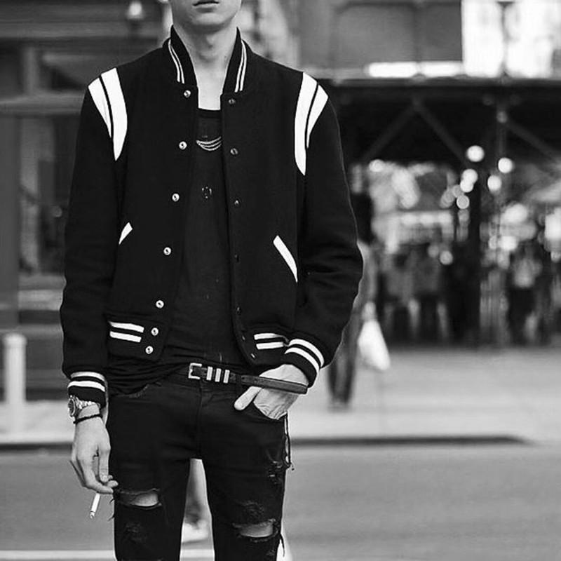 SLP style classic black and White Baseball Jacket sheepskin stitching autumn and winter mens and womens jacket trend wool jacket