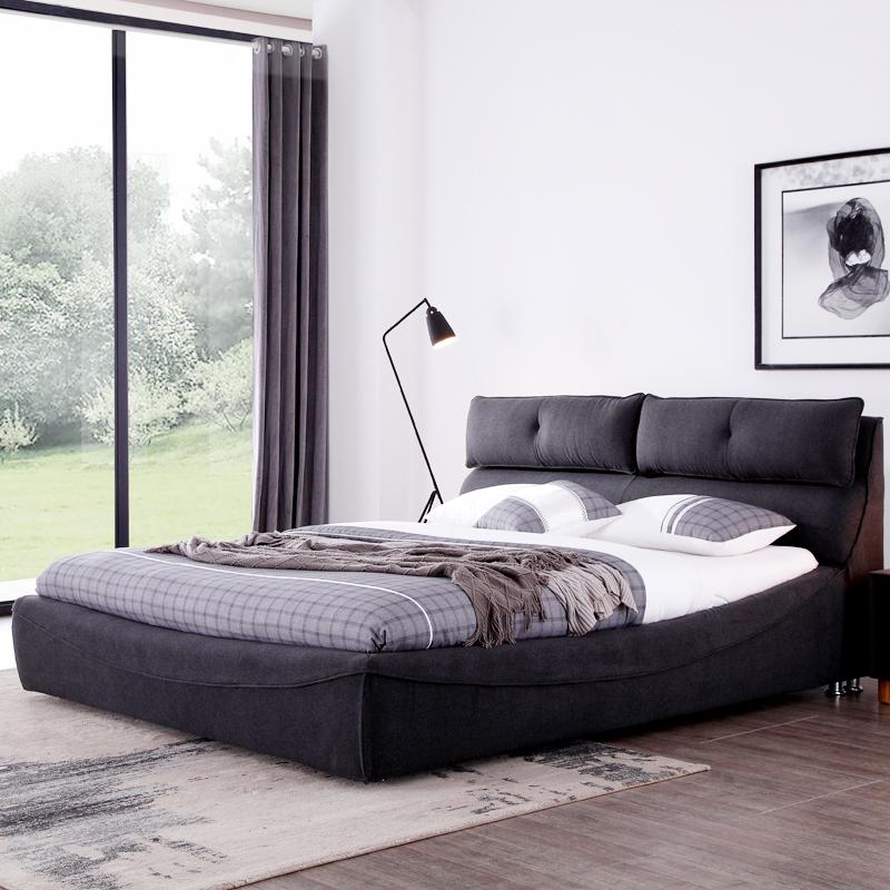 Ткань кровать современный простой двуспальная кровать 1.8 метр татами кровать господь ложь нордический ткань кровать мягкий кровать деревянные кровати хранение
