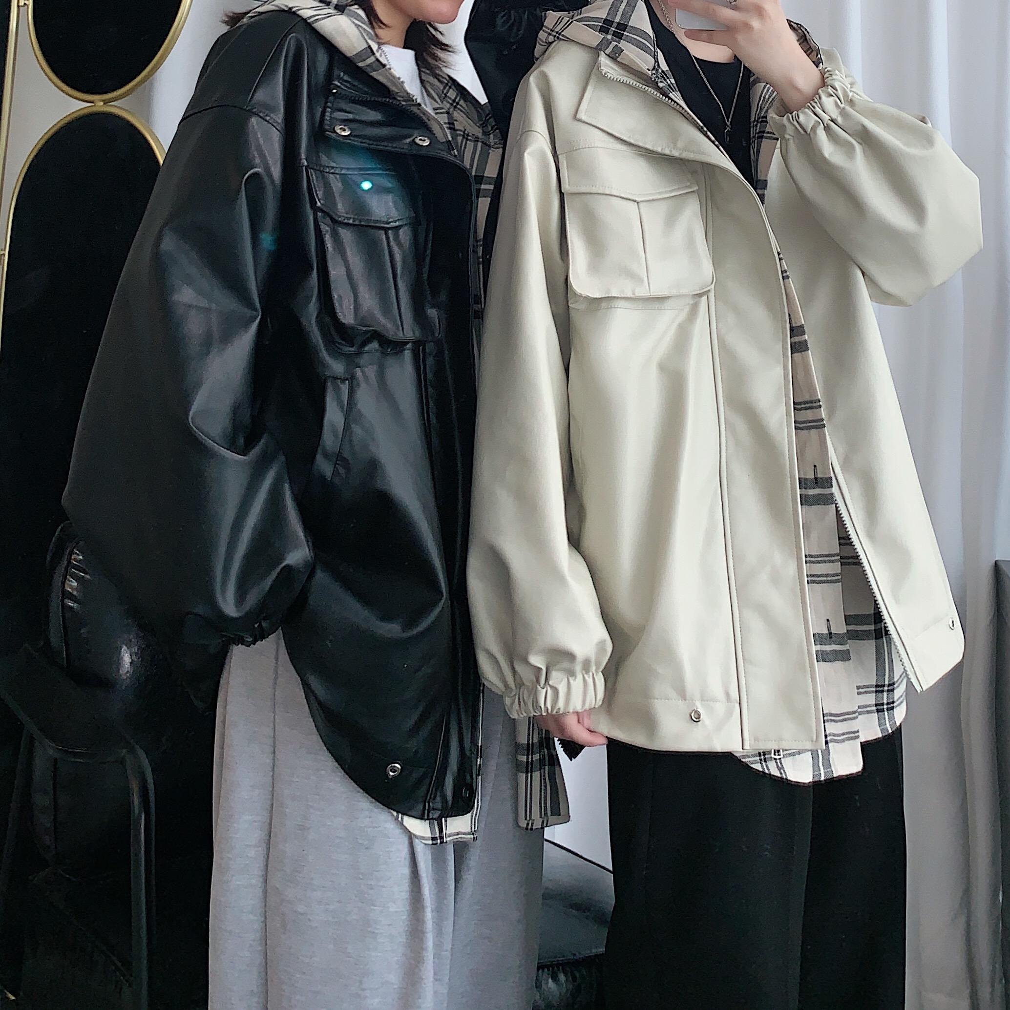 Q716* 假两件连帽皮衣外套男韩版情侣装春装夹克2020新款P110