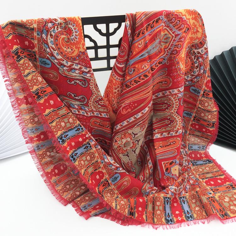 包邮品牌真丝羊毛围巾 奢华宫廷腰果花印花110cm大方巾女空调披肩