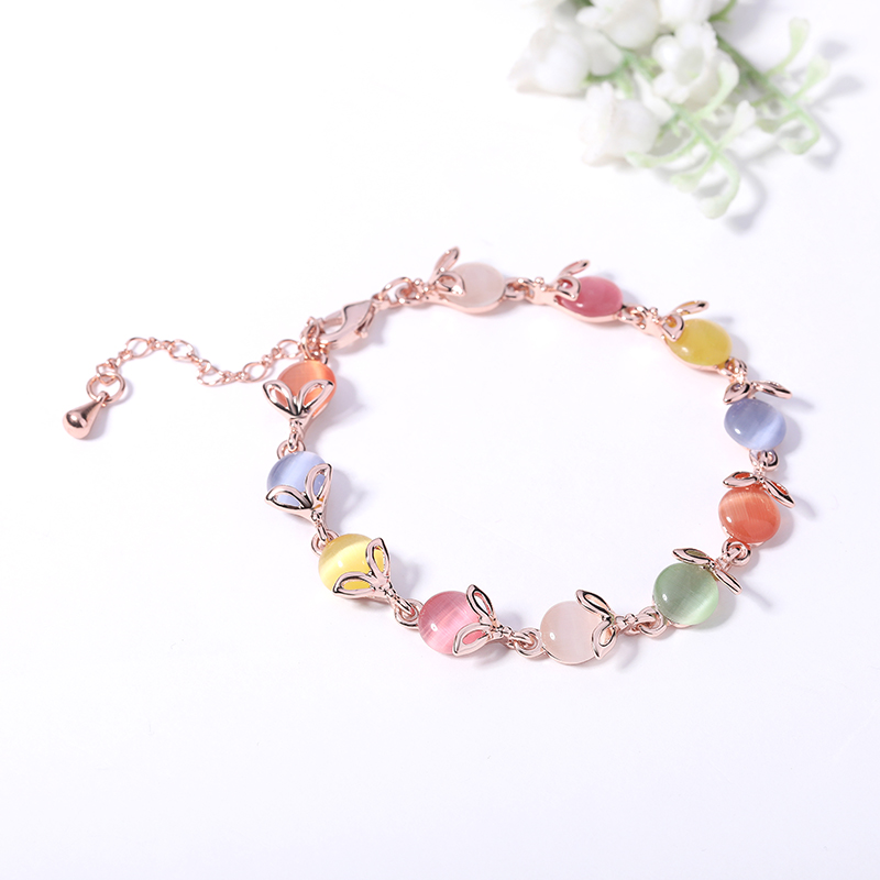 Popular Korean fashion cats eye color bracelet for women jewelry hand jewelry ins minority design jewelry birthday gift