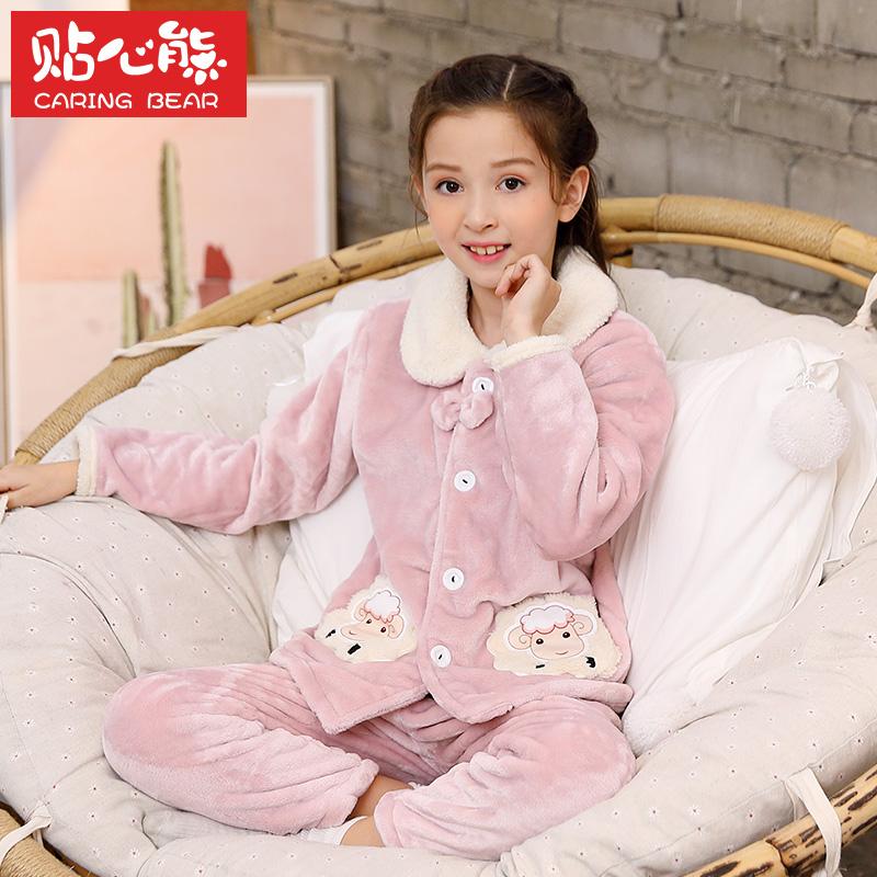 秋冬季女童法兰绒儿童睡衣加厚款宝宝小孩亲子装珊瑚绒大童家居服