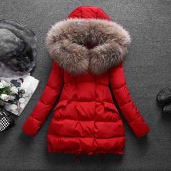 冬季貉子毛领羽绒服女2020新款中长款宽松韩版时尚加厚白鸭绒外套