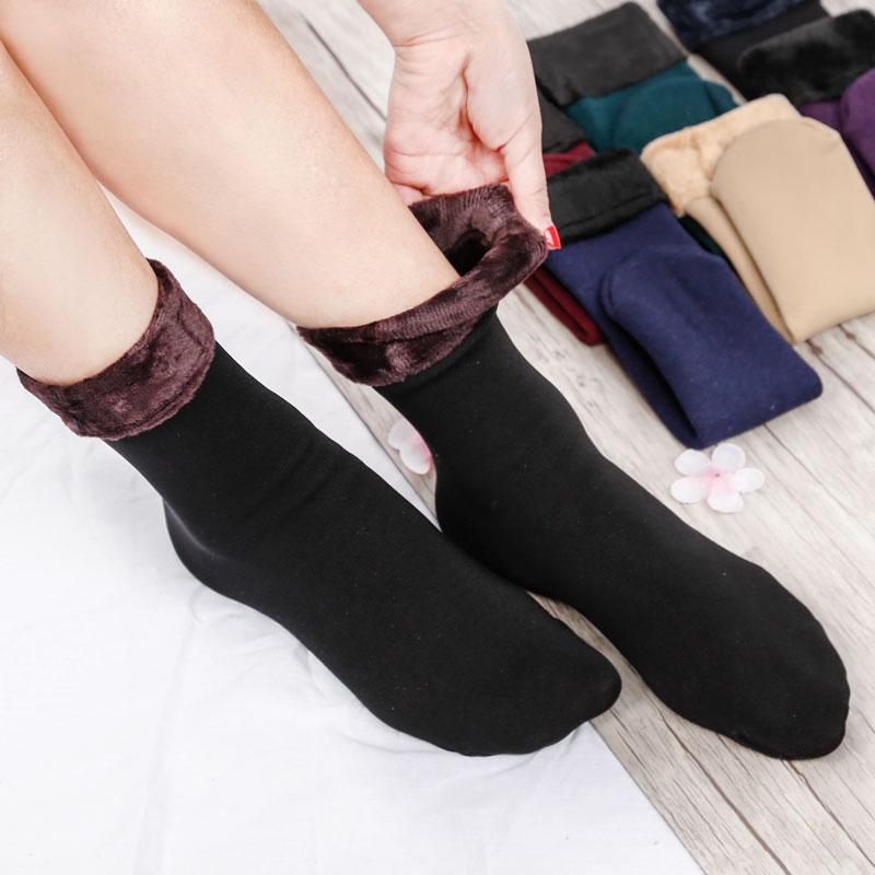 秋冬加厚加绒保暖短袜中筒袜毛绒袜子一体短袜羊绒地板袜男女通用