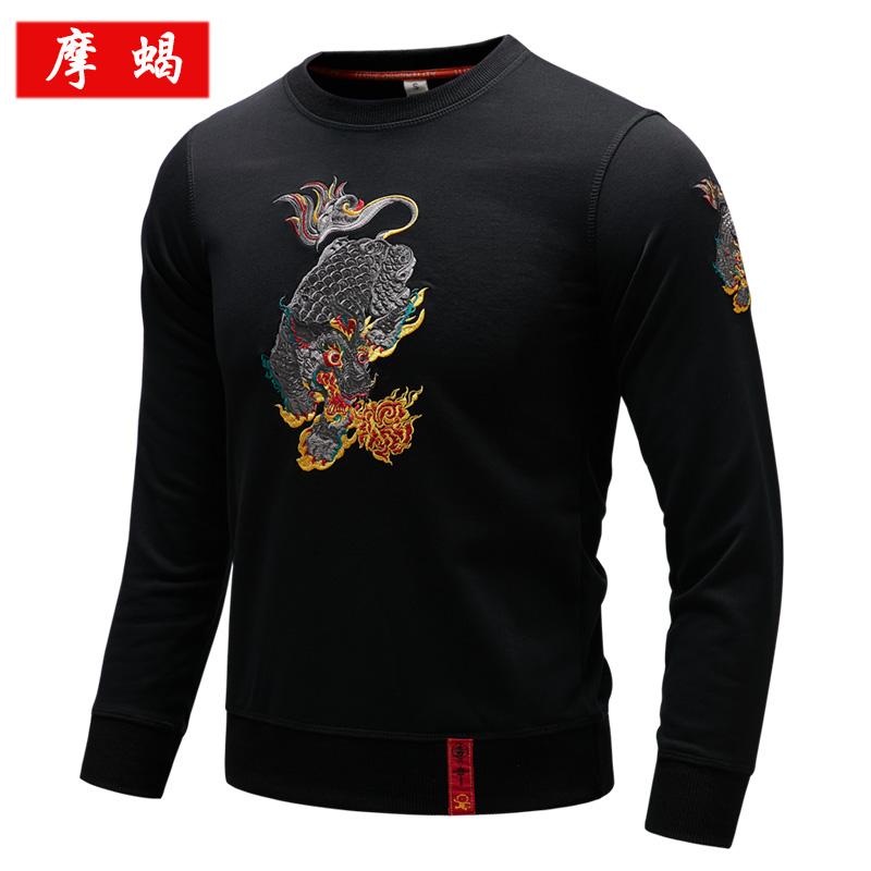 秋冬新款中国风男士圆领卫衣麒麟刺绣国潮套头男日系复古潮男上衣