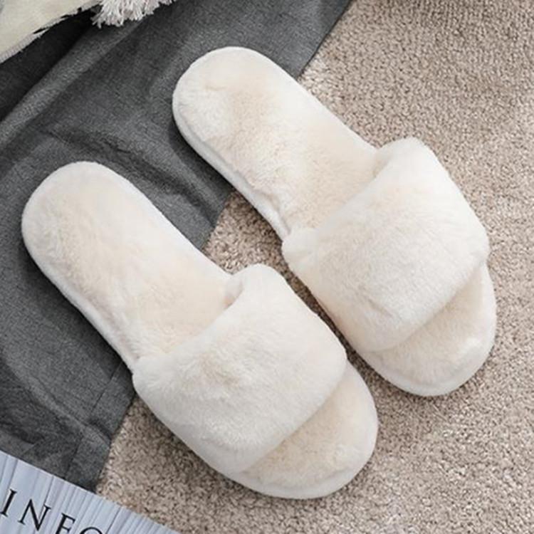 可爱兔毛绒白色拖鞋女冬保暖室内防滑韩版时尚百搭厚底家用居家拖图片
