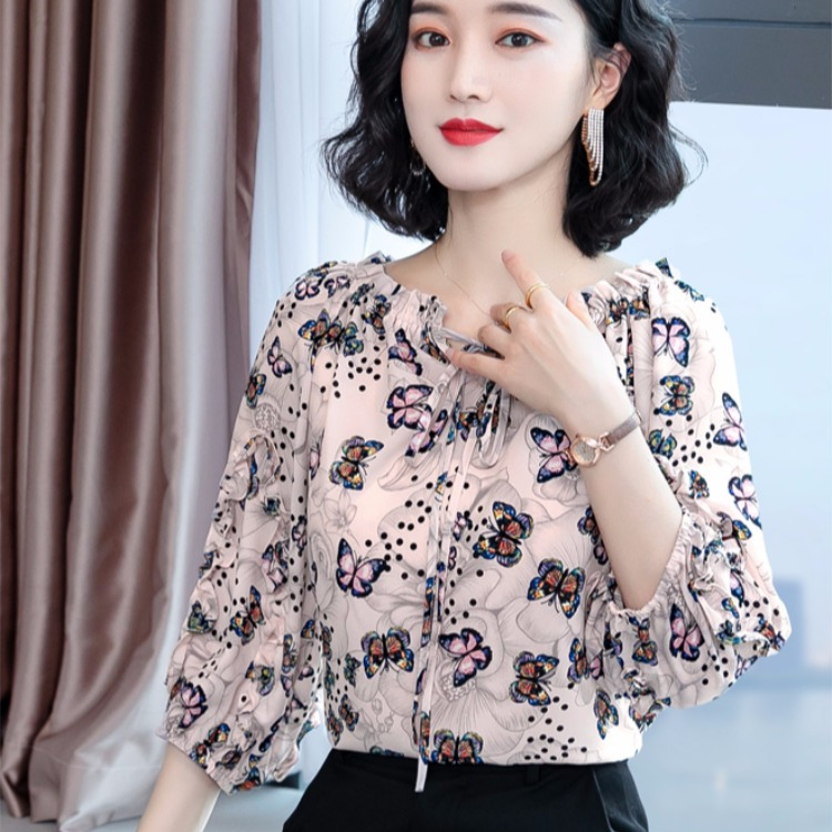 Hair generation chiffon blouse womens top off the shoulder, off the shoulder, super immortal fashion, Cuihua shirt, with drooping feeling