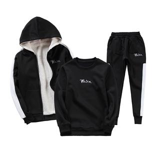 男士衞衣冬季加絨加厚2020新款潮流帥氣一套搭配衣服潮牌休閒套裝
