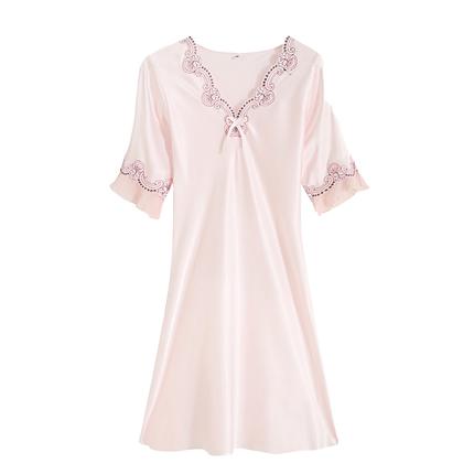 夏季真丝短袖蕾丝韩版性感宽松睡裙