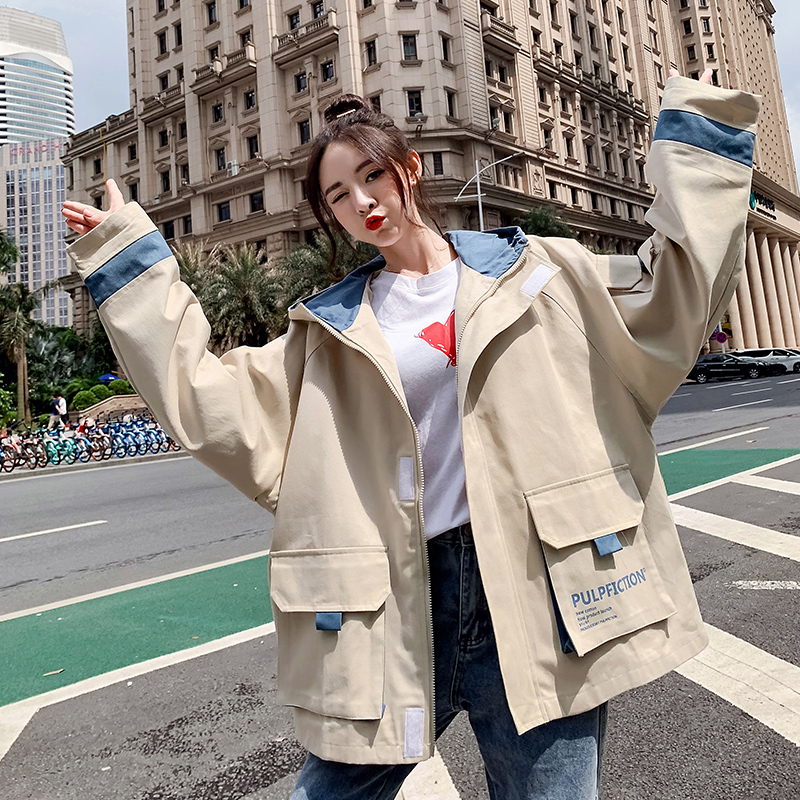 Jacket female spring and autumn student Mori Japanese fashion BF loose and versatile casual port style hooded color matching work jacket