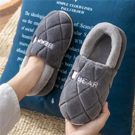 男士棉拖鞋男秋冬季包跟室内家用厚底保暖家居防滑毛毛棉鞋女冬天