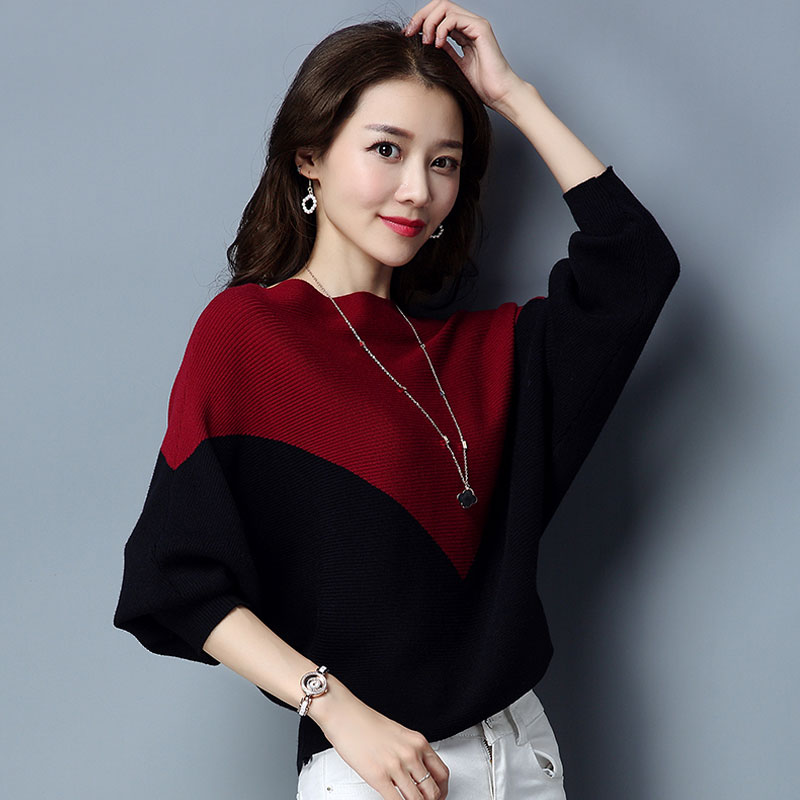 Spring and autumn new one line collar color matching bat sleeve sweater for women long sleeve loose and versatile top for womens oversize knitwear fashion