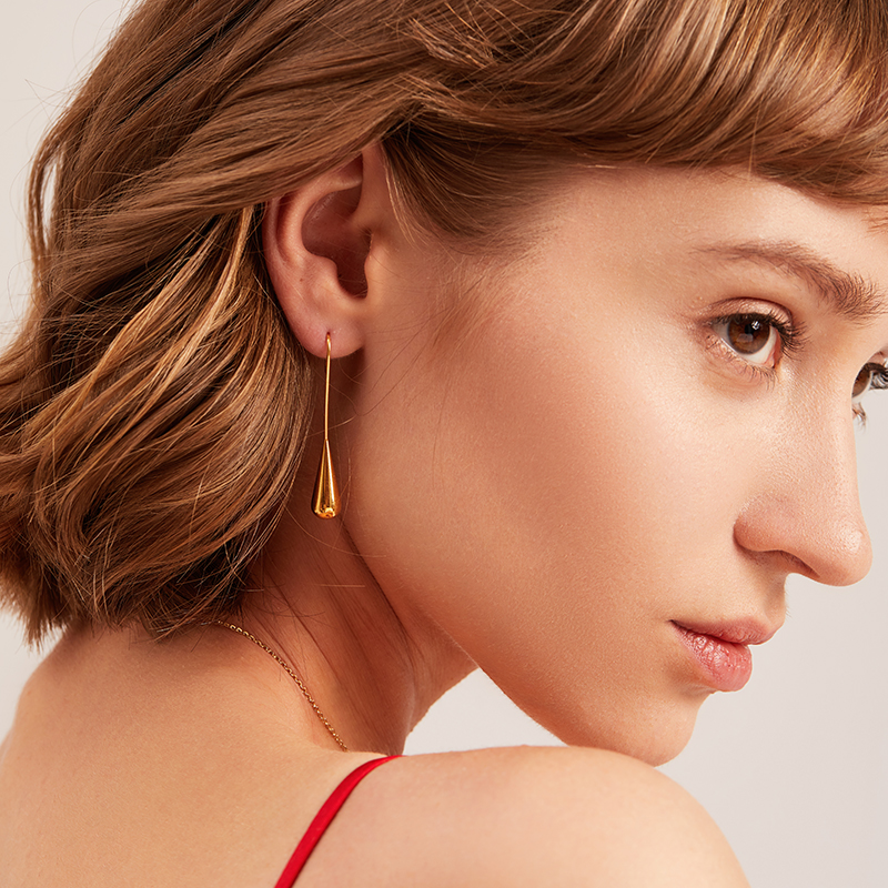 Meow GEE new trend water drop ear hook female French minimalism European and American gold earrings show thin face Earrings