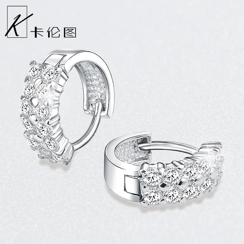 925纯银耳扣女水晶钻石耳环耳钉韩国简约气质耳饰大气圆圈银耳圈