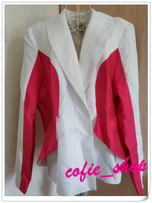 Foreign trade single large size red and white color matching suit coat 0305