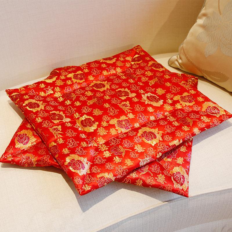花神结婚庆用品红色新人新娘坐福垫拜堂绸缎福垫加厚婚礼敬茶跪垫