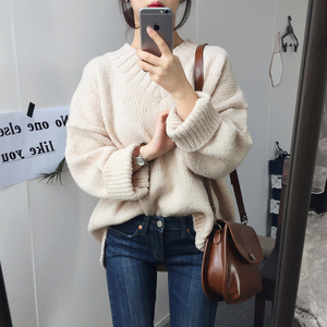 质检 韩国chic 秋冬V领纯色加厚百搭开叉长袖套头毛衣女 9006#