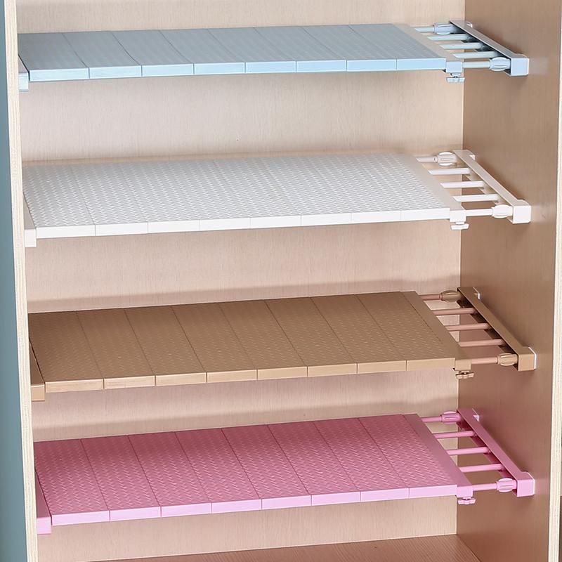 衣柜收纳分层架隔板衣橱柜子隔层鞋柜分隔免钉伸缩宿舍置物架隔断