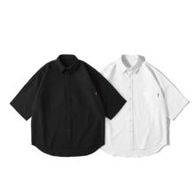 Brand Pure 短袖 日系衬衣 男棉牛津纺五分袖 oversize白色复古衬衫