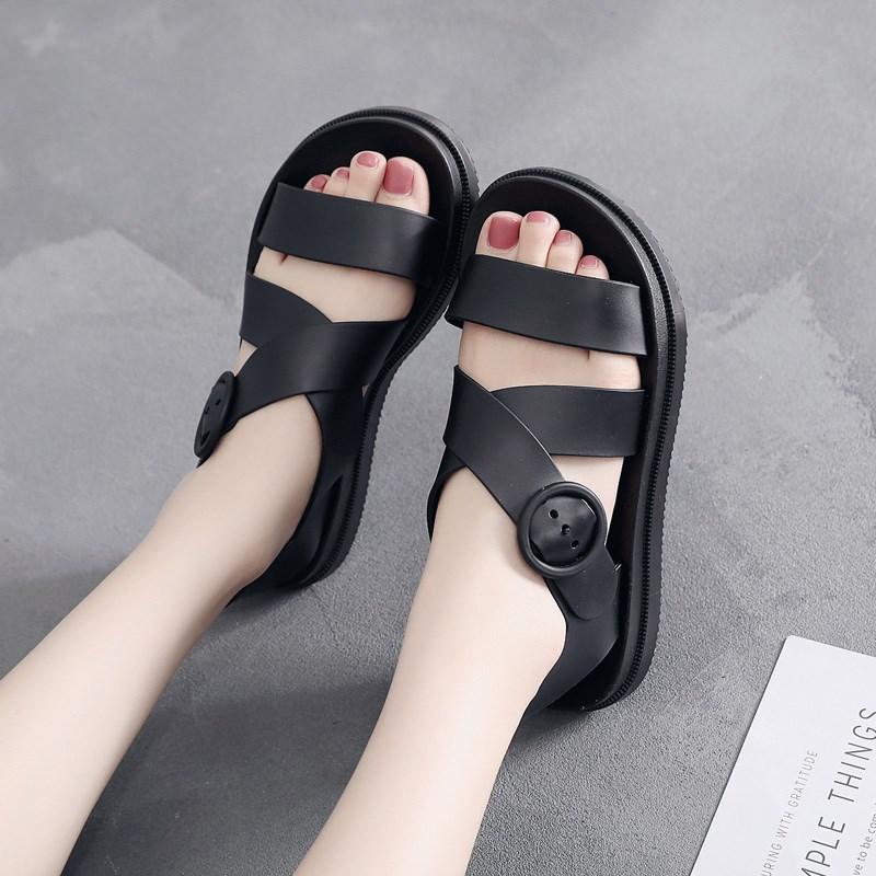 Flat bottom sandals womens plastic thick bottom anti-skid waterproof rain shoes plastic shoes soft bottom jelly shoes Korean student beach shoes