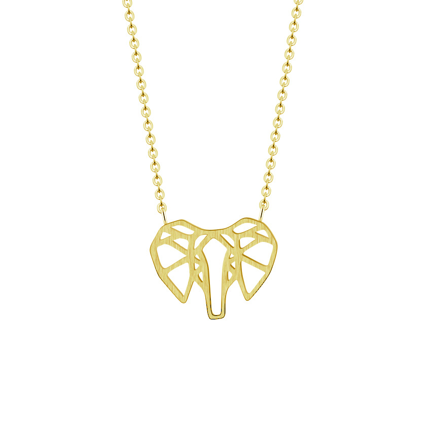 Fashion design cute elephant hollow drawing metal necklace fashion stainless steel pendant mens and womens jewelry