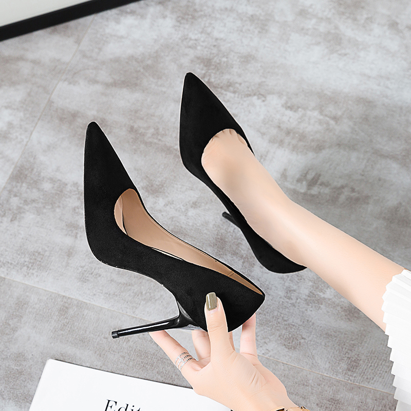 2019新款高跟鞋女黑色细跟尖头法式学生百搭性感网红夏款职业单鞋