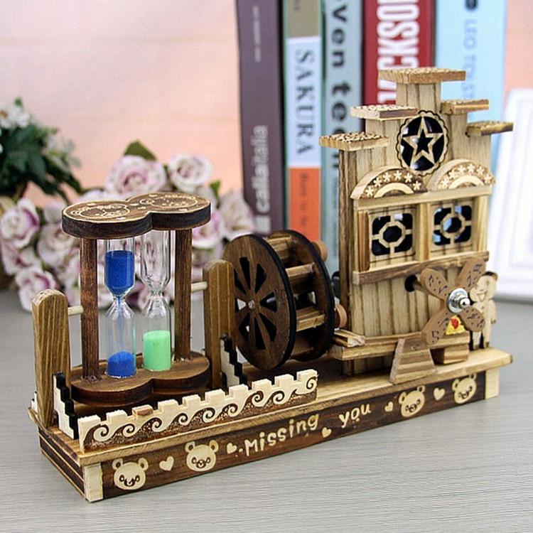 旋转音乐盒风车摆件复古沙漏木屋八音盒儿童小孩男生女生生日礼物券后29.90元