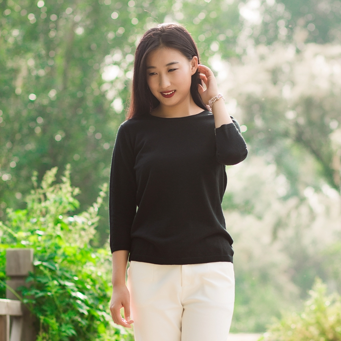 Sammy [worsted cashmere sweater] pure color and versatile autumn style 7-point sleeve top bottoming and slim fitting knitted womens sweater