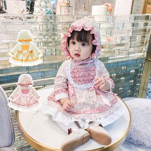 西班牙宮廷風童裝套裝女寶寶春秋洋氣公主裙百日宴週歲裙Lolita裝