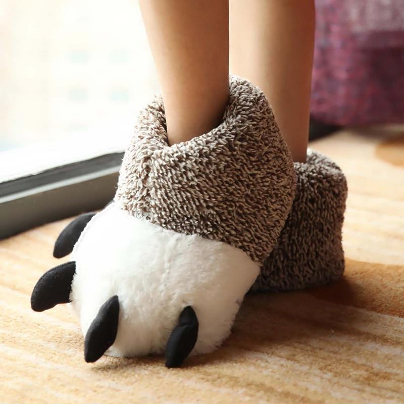Cartoon Bears paw cotton slippers winter mens and womens lovers home indoor cute animal bag and Monster Plush Slippers