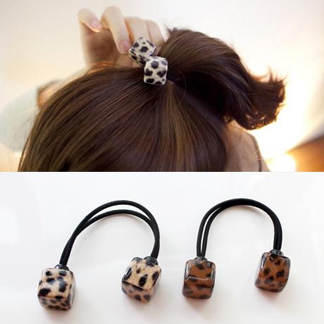 日韩方块豹纹扎头发橡皮筋发绳韩国头饰头绳发圈气质成人皮套发饰