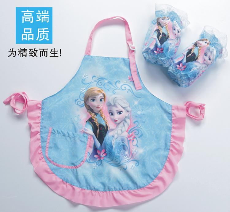 包邮围裙儿童画画衣宝宝儿童罩衣反穿衣薄款透气防水绘画衣带袖套